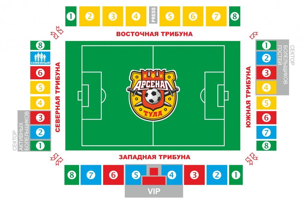 Схема мест в манеже стадиона арсенал